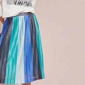 Anthropologie Maeve Sunburst Pleated Midi Skirt L